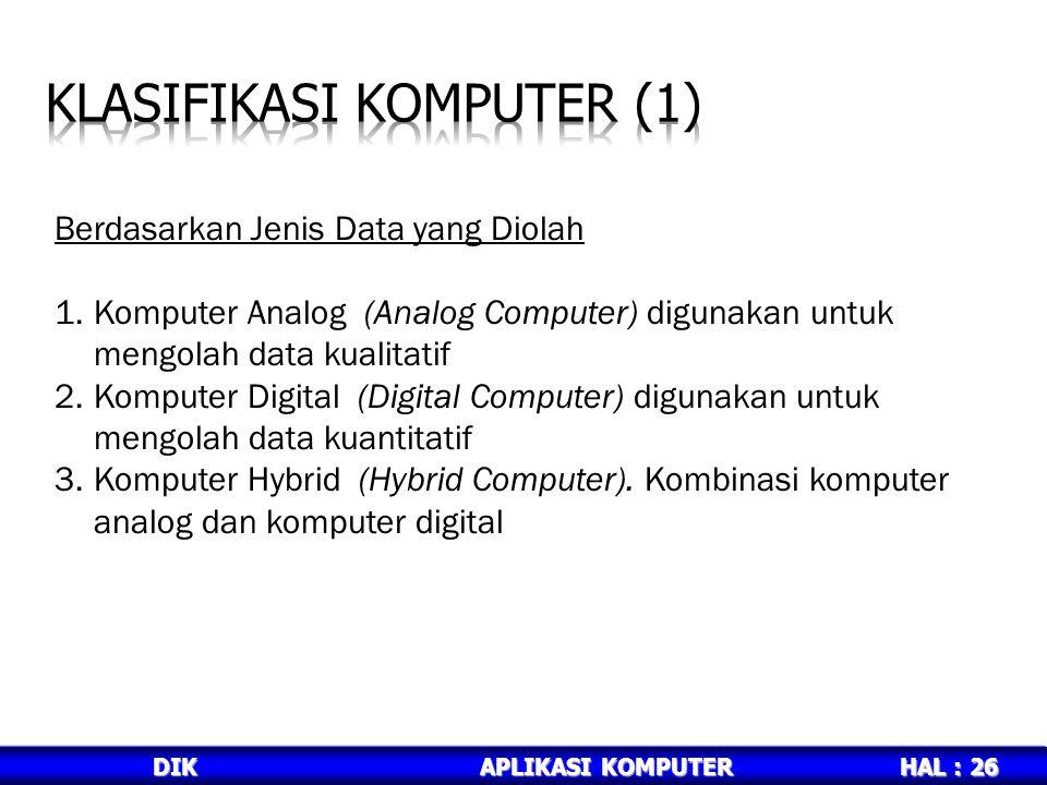 HAL : 26 DIKAPLIKASI KOMPUTER Berdasarkan Jenis Data yang Diolah 1.Komputer Analog (Analog Computer) digunakan untuk mengolah data kualitatif 2.Komputer Digital (Digital Computer) digunakan untuk mengolah data kuantitatif 3.Komputer Hybrid (Hybrid Computer).