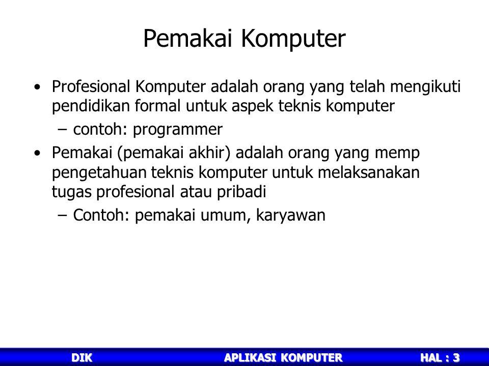HAL : 3 DIKAPLIKASI KOMPUTER Pemakai Komputer Profesional Komputer adalah orang yang telah mengikuti pendidikan formal untuk aspek teknis komputer –contoh: programmer Pemakai (pemakai akhir) adalah orang yang memp pengetahuan teknis komputer untuk melaksanakan tugas profesional atau pribadi –Contoh: pemakai umum, karyawan