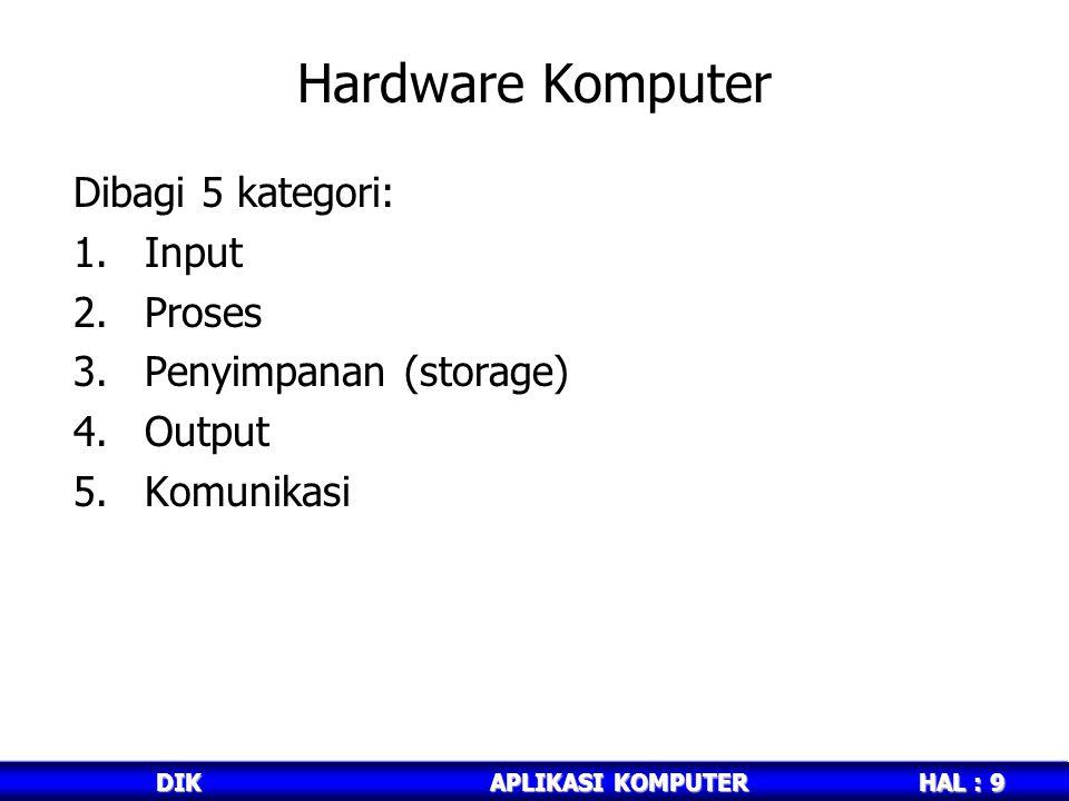 HAL : 9 DIKAPLIKASI KOMPUTER Hardware Komputer Dibagi 5 kategori: 1.Input 2.Proses 3.Penyimpanan (storage) 4.Output 5.Komunikasi