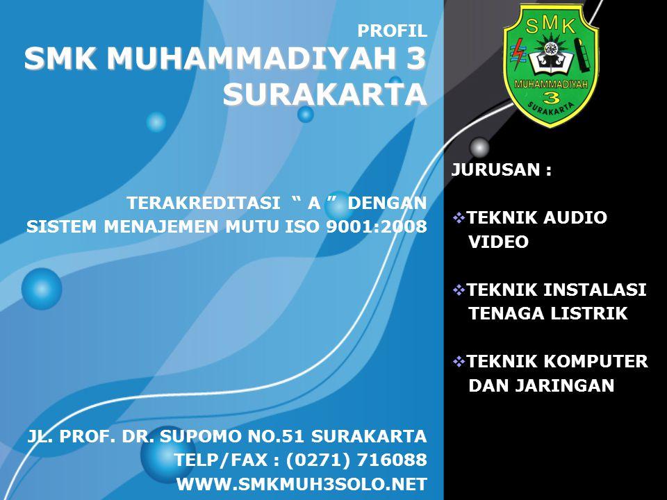 LOGO SMK MUHAMMADIYAH 3 SURAKARTA PROFIL JL. PROF. DR. SUPOMO NO.51 SURAKARTA TELP/FAX : (0271) 716088 WWW.SMKMUH3SOLO.NET JURUSAN :  TEKNIK AUDIO VI