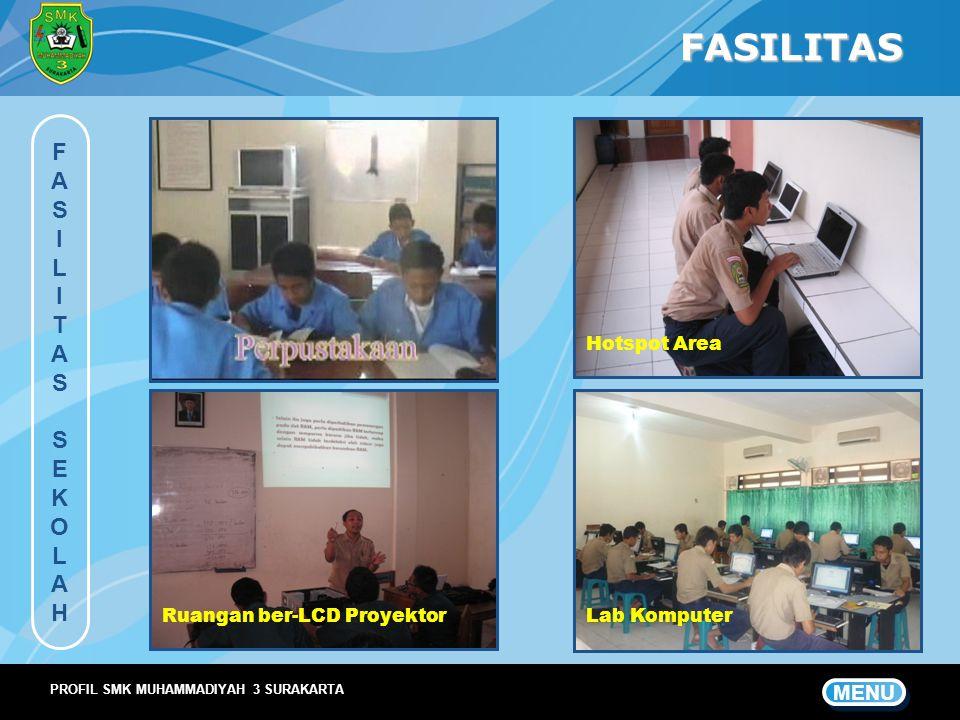 FASILITAS FASILITASSEKOLAHFASILITASSEKOLAH MENU PROFIL SMK MUHAMMADIYAH 3 SURAKARTA Hotspot Area Ruangan ber-LCD ProyektorLab Komputer