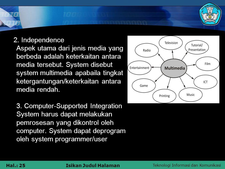 Teknologi Informasi dan Komunikasi Hal.: 24Isikan Judul Halaman System multimedia adalah sesuatu yang dapat mengatur terdukungnya penggunaan lebih dari satu media.