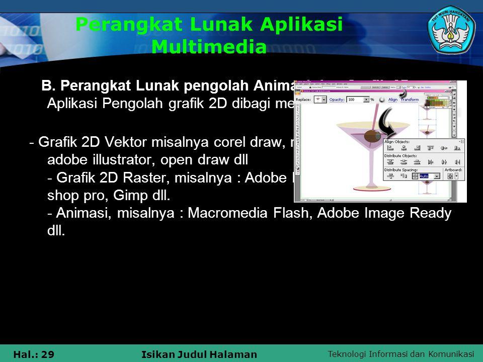 Teknologi Informasi dan Komunikasi Hal.: 28Isikan Judul Halaman Perangkat Lunak Aplikasi Multimedia A.