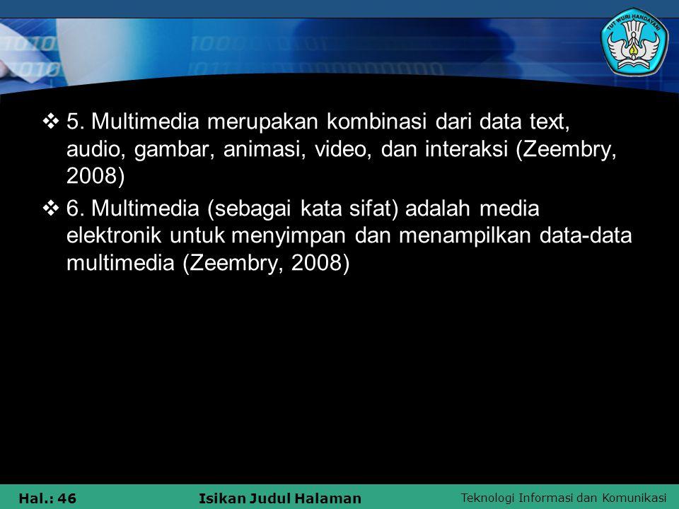 Teknologi Informasi dan Komunikasi Hal.: 45Isikan Judul Halaman  2.