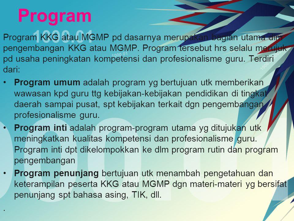 Program Program KKG atau MGMP pd dasarnya merupakan bagian utama dlm pengembangan KKG atau MGMP. Program tersebut hrs selalu merujuk pd usaha peningka