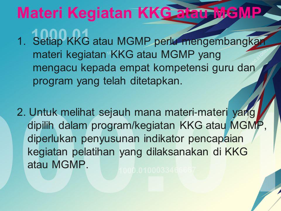 Materi Kegiatan KKG atau MGMP 1.Setiap KKG atau MGMP perlu mengembangkan materi kegiatan KKG atau MGMP yang mengacu kepada empat kompetensi guru dan p