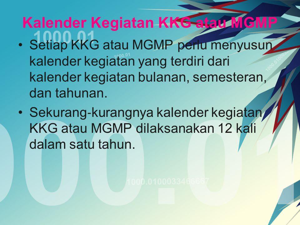 Kalender Kegiatan KKG atau MGMP Setiap KKG atau MGMP perlu menyusun kalender kegiatan yang terdiri dari kalender kegiatan bulanan, semesteran, dan tah