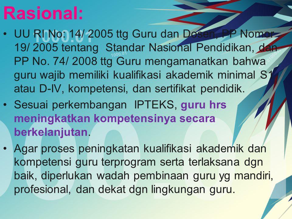 Rasional: UU RI No: 14/ 2005 ttg Guru dan Dosen, PP Nomor 19/ 2005 tentang Standar Nasional Pendidikan, dan PP No. 74/ 2008 ttg Guru mengamanatkan bah