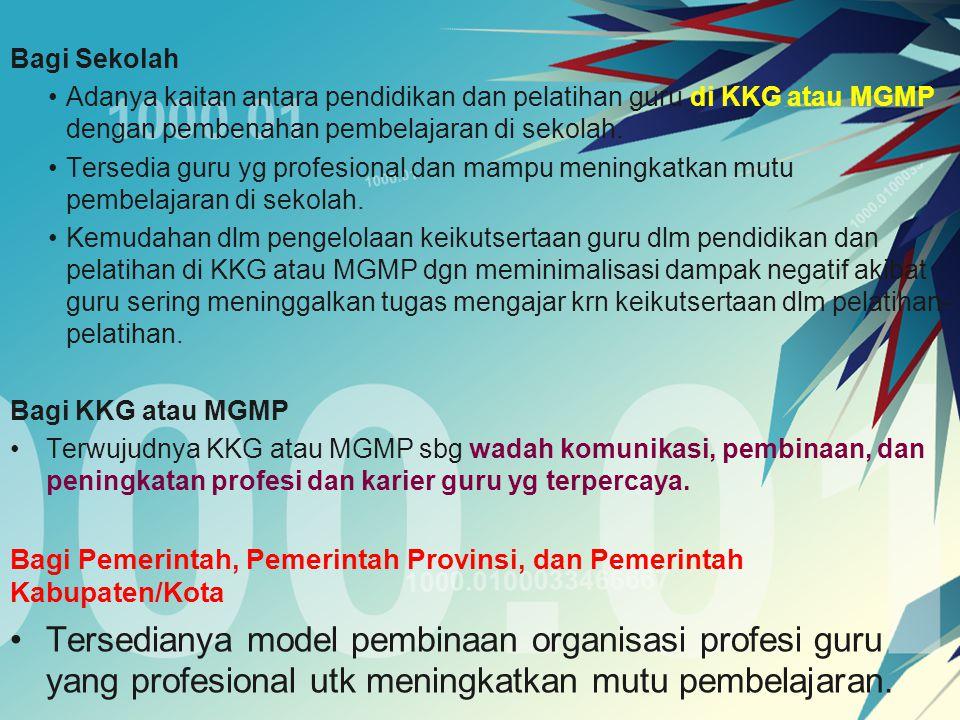 Pengelolaan Pengelolaan KKG atau MGMP sebagai wadah peningkatan kompetensi dan pengembangan profesionalisme guru meliputi perencanaan, pelaksanaan, dan evaluasi program KKG atau MGMP.