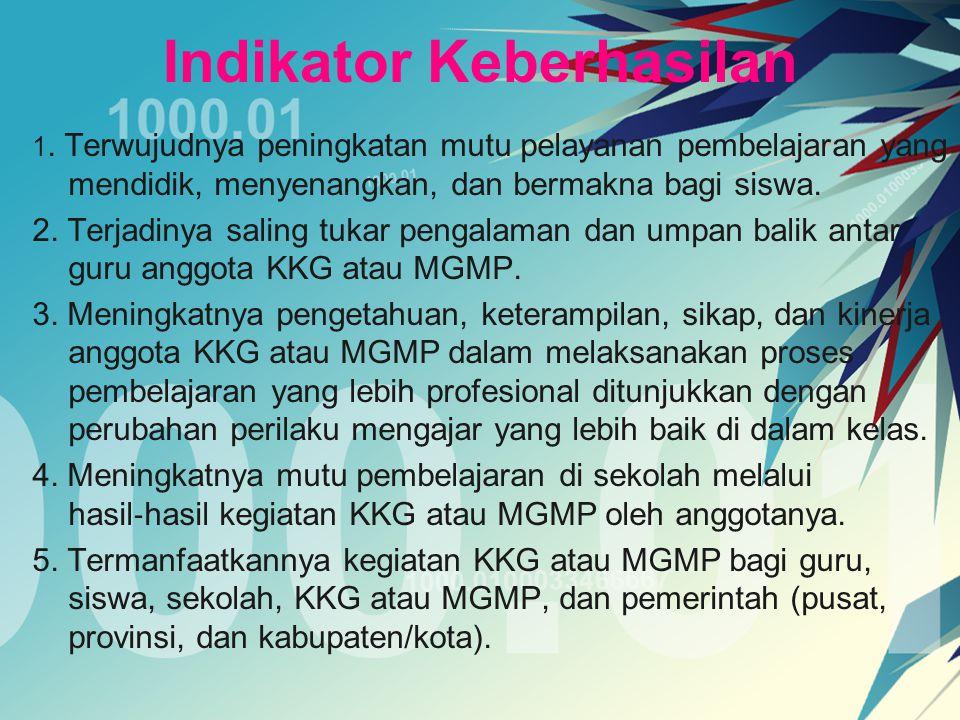 Pelaksanaan Program KKG atau MGMP a.Pedoman Kerja KKG atau MGMP KKG atau MGMP membuat dan memiliki pedoman yang mengatur berbagai aspek pengelolaan secara tertulis yang mudah dibaca oleh pihak ‐ pihak yang terkait.