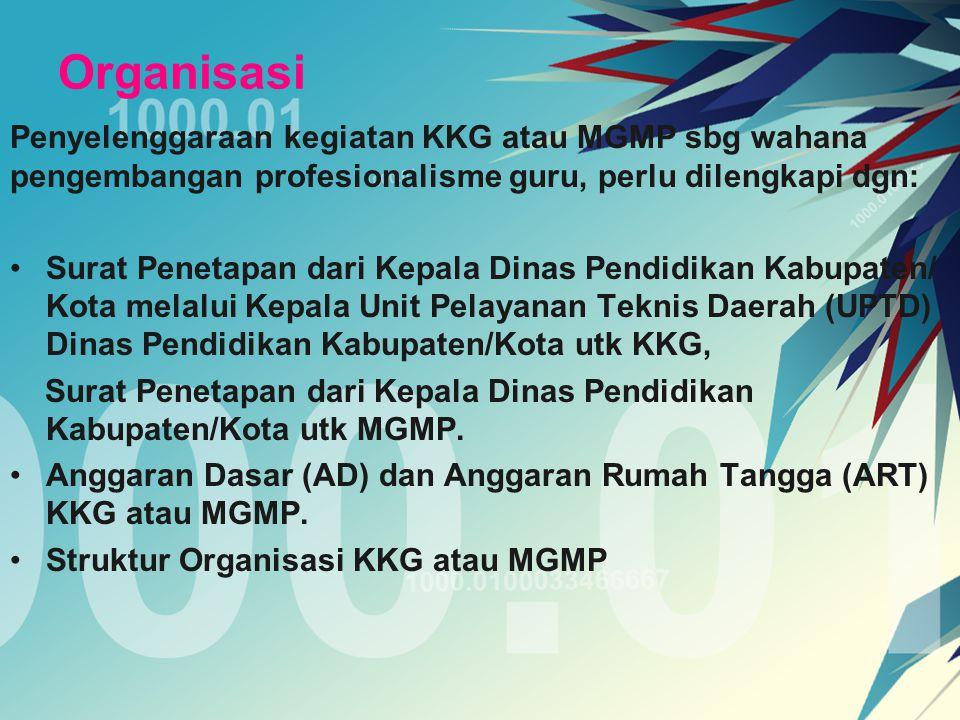 Evaluasi Program KKG atau MGMP a.Pengurus mengevaluasi setiap kegiatan sebagaimana yang tertera pada rencana program tahunan b.