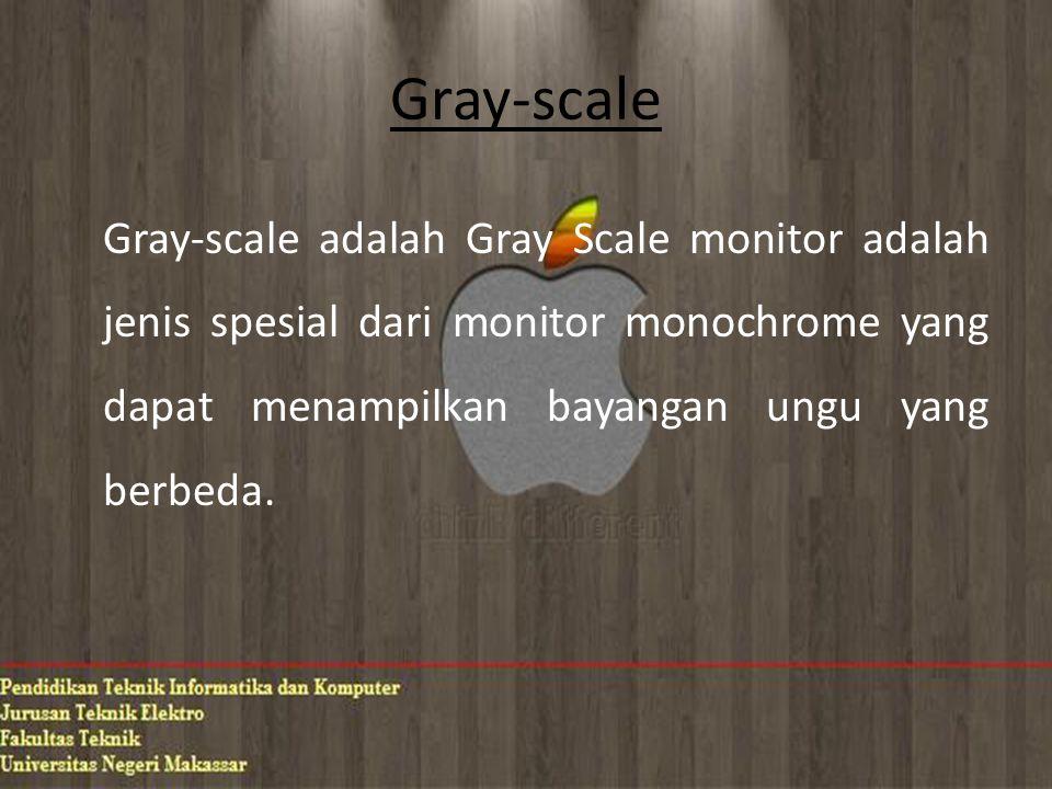 Gray-scale Gray-scale adalah Gray Scale monitor adalah jenis spesial dari monitor monochrome yang dapat menampilkan bayangan ungu yang berbeda.