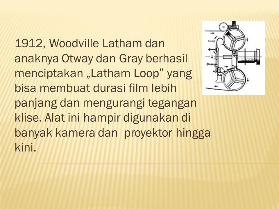 """1912, Woodville Latham dan anaknya Otway dan Gray berhasil menciptakan """"Latham Loop """" yang bisa membuat durasi film lebih panjang dan mengurangi tegangan klise."""