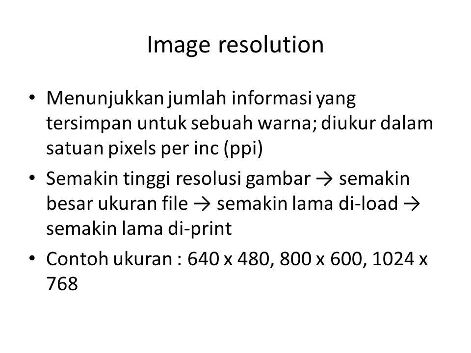 Image resolution Menunjukkan jumlah informasi yang tersimpan untuk sebuah warna; diukur dalam satuan pixels per inc (ppi) Semakin tinggi resolusi gamb