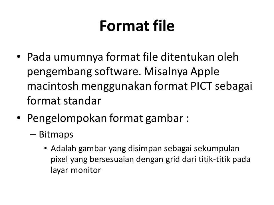 Format file Pada umumnya format file ditentukan oleh pengembang software. Misalnya Apple macintosh menggunakan format PICT sebagai format standar Peng