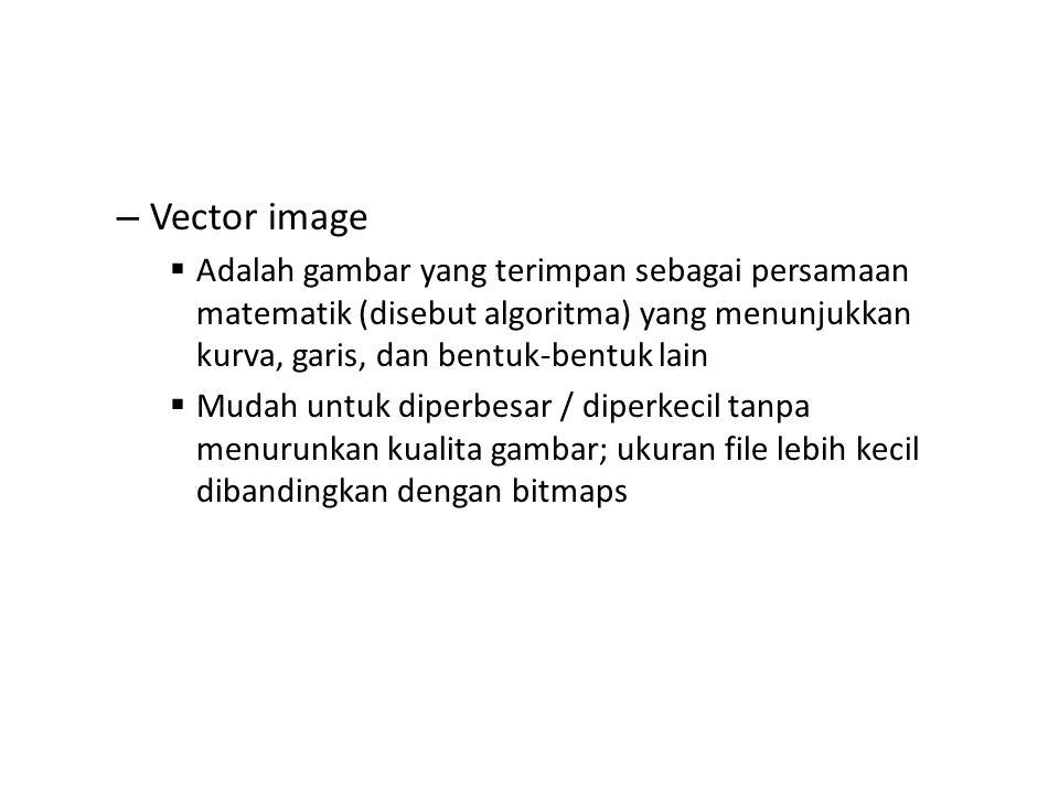 – Vector image  Adalah gambar yang terimpan sebagai persamaan matematik (disebut algoritma) yang menunjukkan kurva, garis, dan bentuk-bentuk lain  M