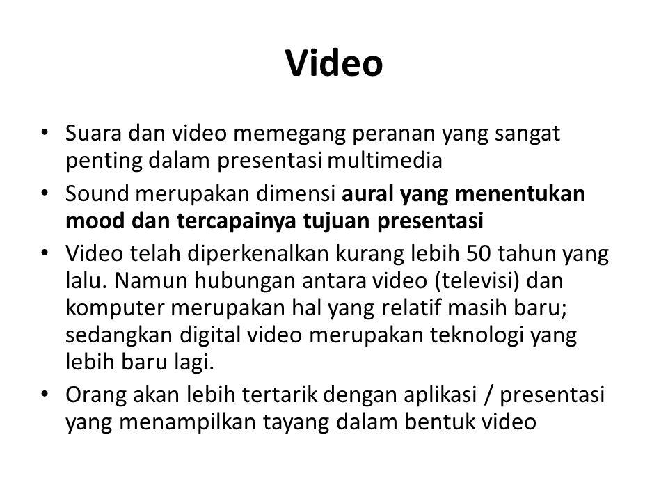 Video Suara dan video memegang peranan yang sangat penting dalam presentasi multimedia Sound merupakan dimensi aural yang menentukan mood dan tercapai