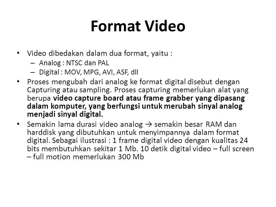 Format Video Video dibedakan dalam dua format, yaitu : – Analog : NTSC dan PAL – Digital : MOV, MPG, AVI, ASF, dll Proses mengubah dari analog ke form