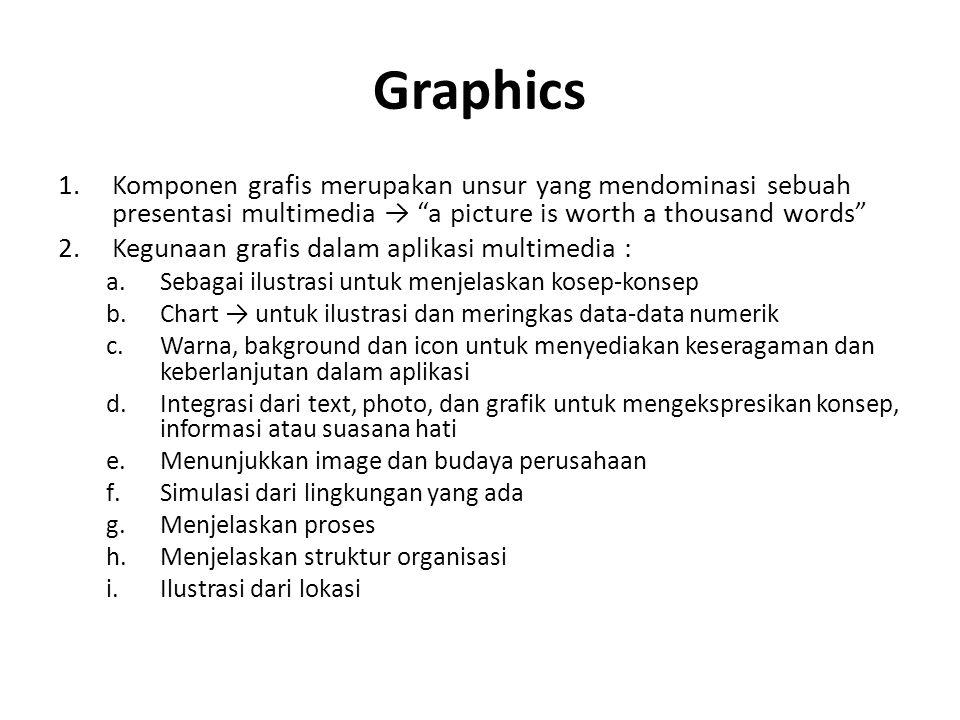 """Graphics 1.Komponen grafis merupakan unsur yang mendominasi sebuah presentasi multimedia → """"a picture is worth a thousand words"""" 2.Kegunaan grafis dal"""