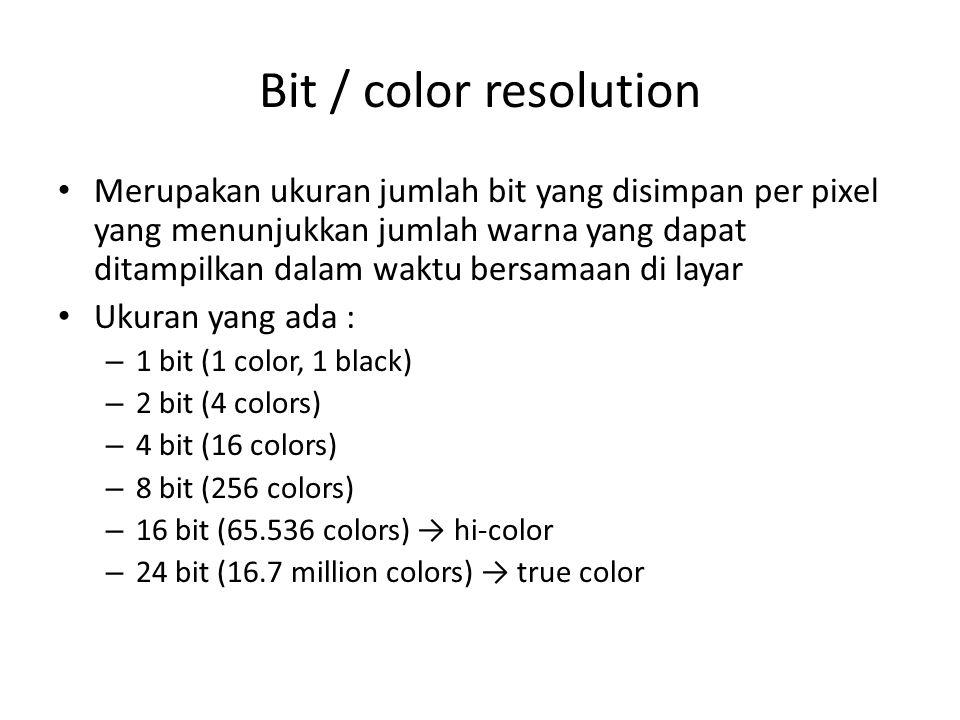 Bit / color resolution Merupakan ukuran jumlah bit yang disimpan per pixel yang menunjukkan jumlah warna yang dapat ditampilkan dalam waktu bersamaan
