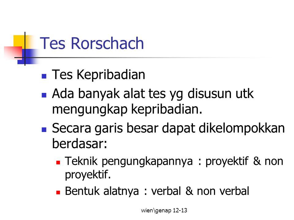 wien\genap 12-13 Contoh: Bentuk Teknik Verbal Non Verbal ProyektifSSCT, MSCT, Forer, dll Rorschach, Grafis, WZT, TAT, dll Non ProyektifInventory