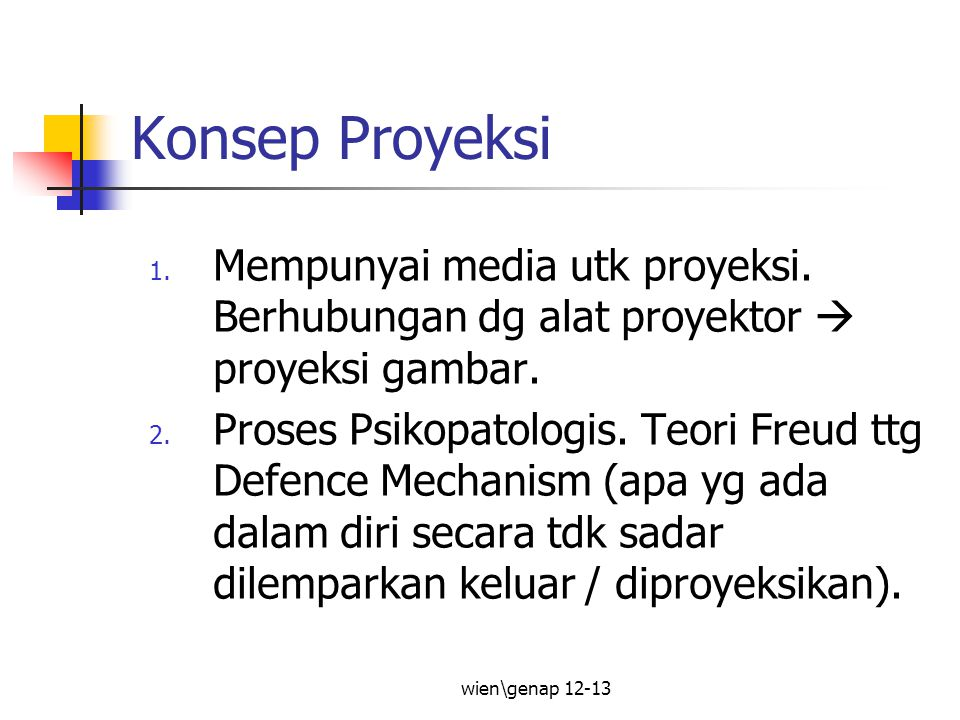 wien\genap 12-13 Konsep Proyeksi 1.Mempunyai media utk proyeksi.