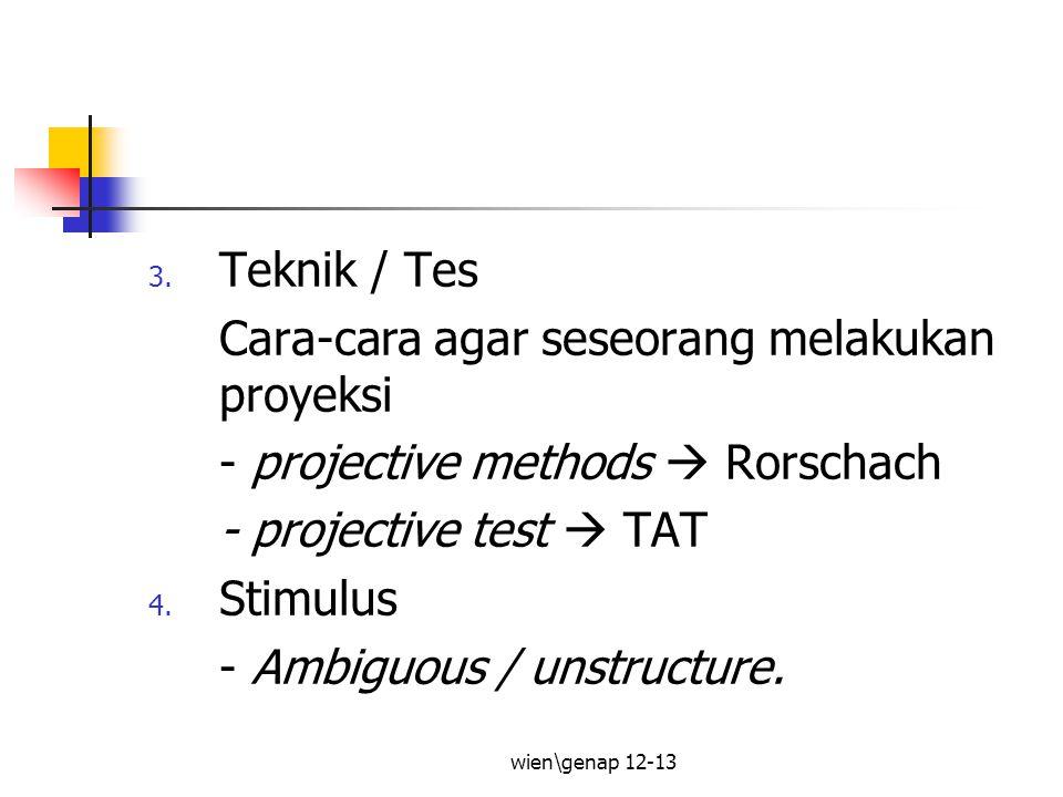 wien\genap 12-13 Menurut bbrp sumber: Rabin (1981), unsur2 utk definisi tes proyeksi : Stimulus yg samar / ambigu Subjek tdk begitu sadar akan tujuan stimulus & implikasinya.