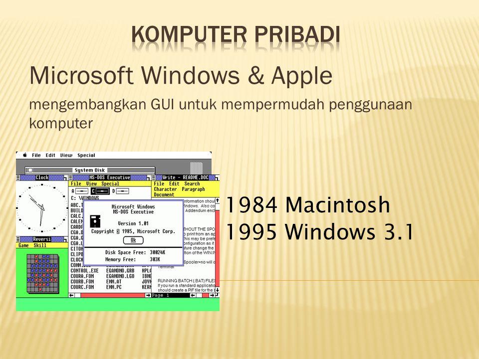 Microsoft Windows & Apple mengembangkan GUI untuk mempermudah penggunaan komputer 1984 Macintosh 1995 Windows 3.1