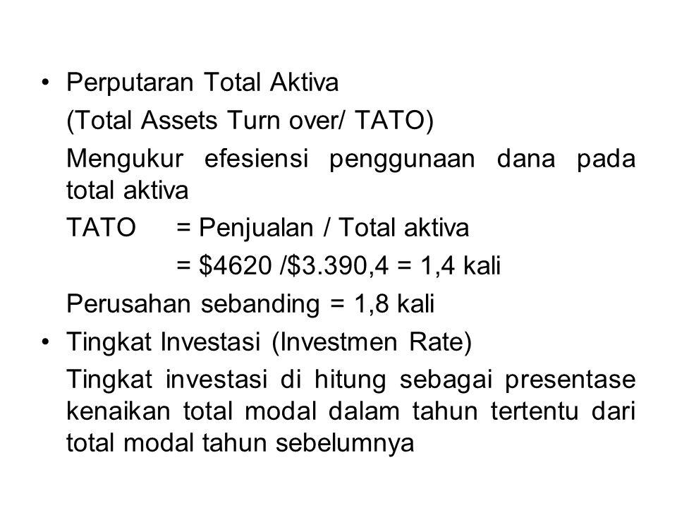 Perputaran Total Aktiva (Total Assets Turn over/ TATO) Mengukur efesiensi penggunaan dana pada total aktiva TATO = Penjualan / Total aktiva = $4620 /$3.390,4 = 1,4 kali Perusahan sebanding = 1,8 kali Tingkat Investasi (Investmen Rate) Tingkat investasi di hitung sebagai presentase kenaikan total modal dalam tahun tertentu dari total modal tahun sebelumnya
