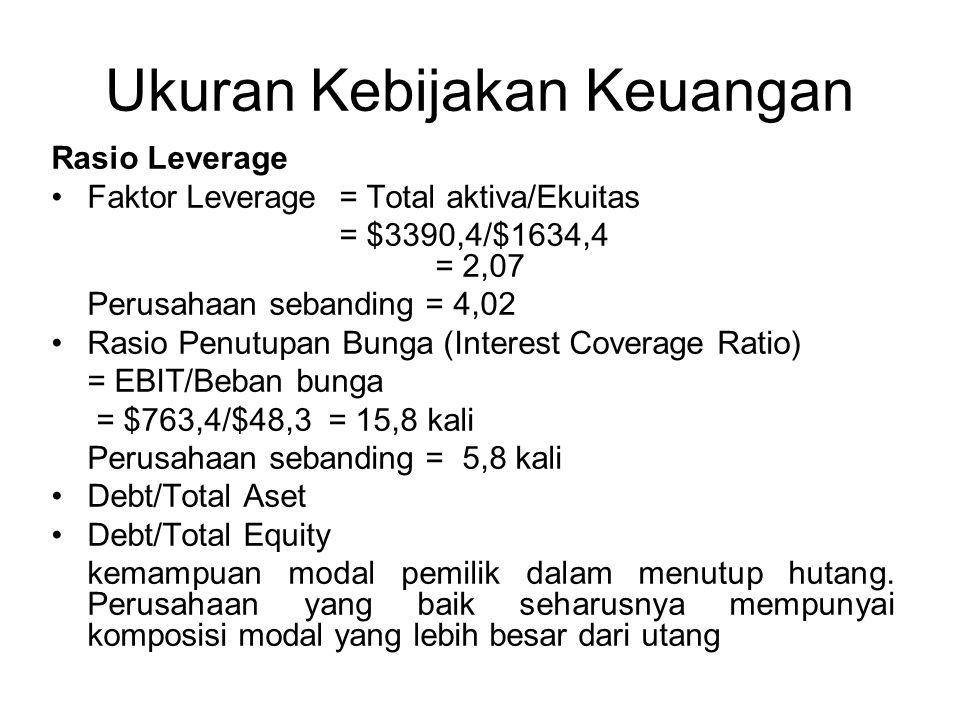 Ukuran Kebijakan Keuangan Rasio Leverage Faktor Leverage = Total aktiva/Ekuitas = $3390,4/$1634,4 = 2,07 Perusahaan sebanding = 4,02 Rasio Penutupan Bunga (Interest Coverage Ratio) = EBIT/Beban bunga = $763,4/$48,3 = 15,8 kali Perusahaan sebanding = 5,8 kali Debt/Total Aset Debt/Total Equity kemampuan modal pemilik dalam menutup hutang.
