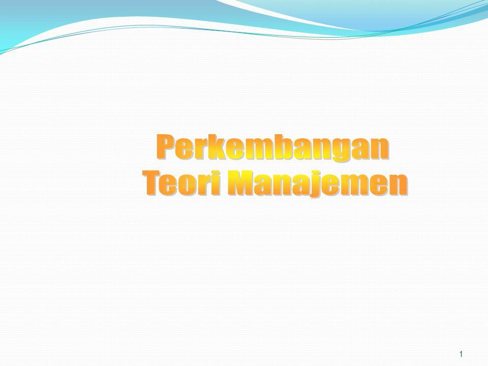 Perkembangan Teori Manajemen  Teori Manajemen Klasik Manajemen Ilmiah Teori Organisasi Klasik  Aliran Hubungan Manusiawi/Perilaku  Aliran Manajemen Modern Perilaku Organisasi Aliran Kuantitatif Pendekatan Sistem Pendekatan Kontingensi  Perkembangan teori manajemen dimasa yang akan datang 2