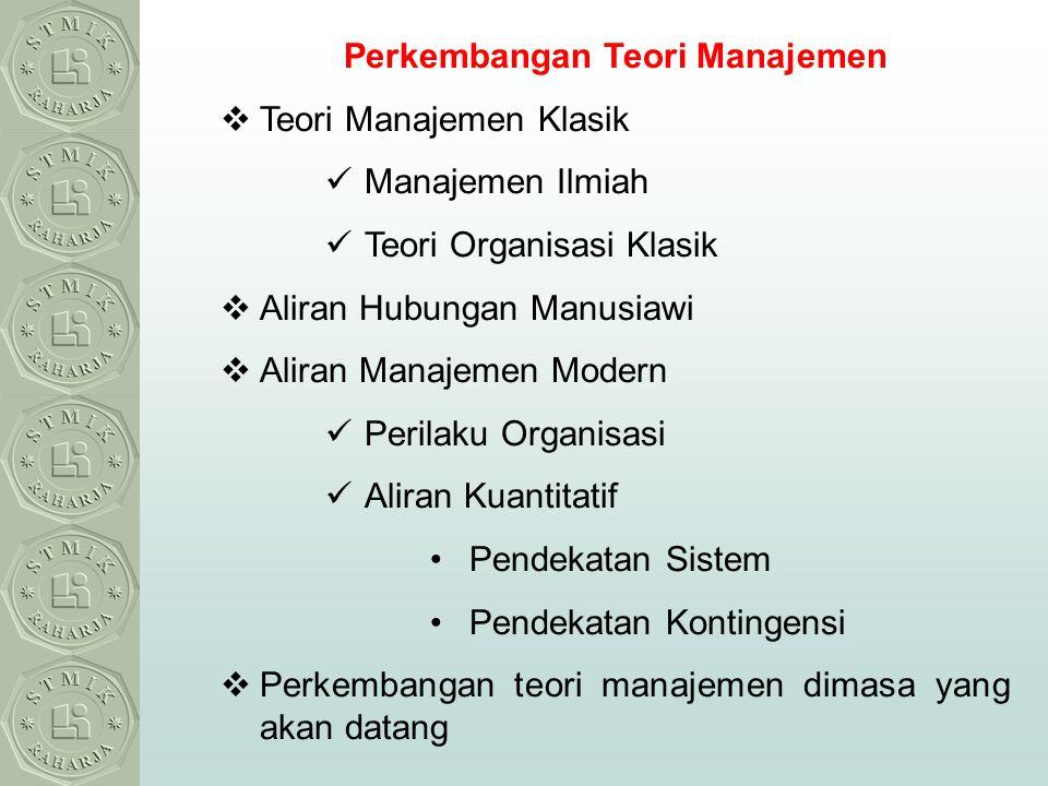 Perkembangan Teori Manajemen  Teori Manajemen Klasik Manajemen Ilmiah Teori Organisasi Klasik  Aliran Hubungan Manusiawi  Aliran Manajemen Modern P