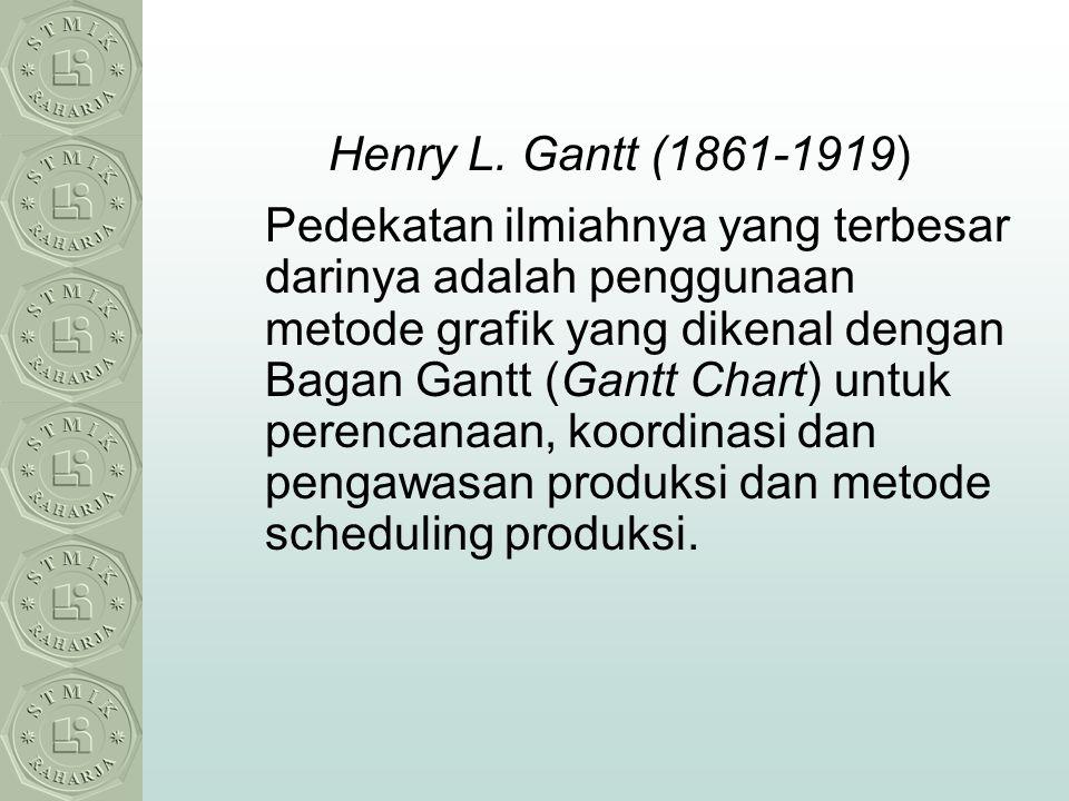 Henry L. Gantt (1861-1919) Pedekatan ilmiahnya yang terbesar darinya adalah penggunaan metode grafik yang dikenal dengan Bagan Gantt (Gantt Chart) unt