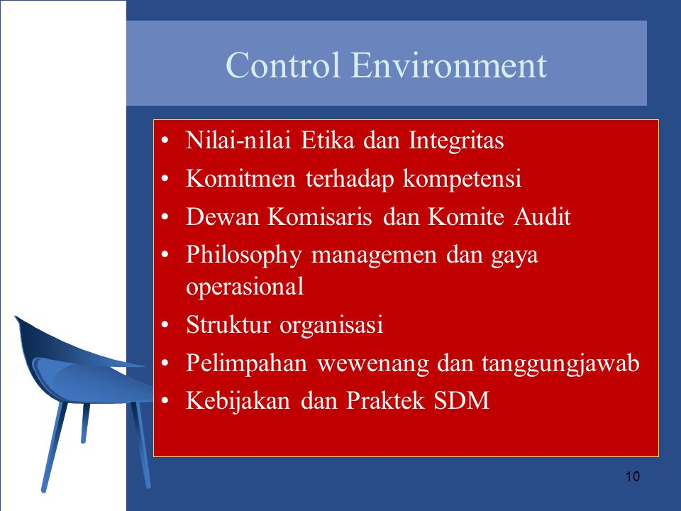 10 Control Environment Nilai-nilai Etika dan Integritas Komitmen terhadap kompetensi Dewan Komisaris dan Komite Audit Philosophy managemen dan gaya operasional Struktur organisasi Pelimpahan wewenang dan tanggungjawab Kebijakan dan Praktek SDM