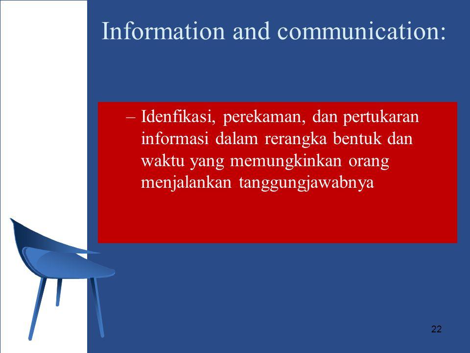 22 Information and communication: –Idenfikasi, perekaman, dan pertukaran informasi dalam rerangka bentuk dan waktu yang memungkinkan orang menjalankan tanggungjawabnya