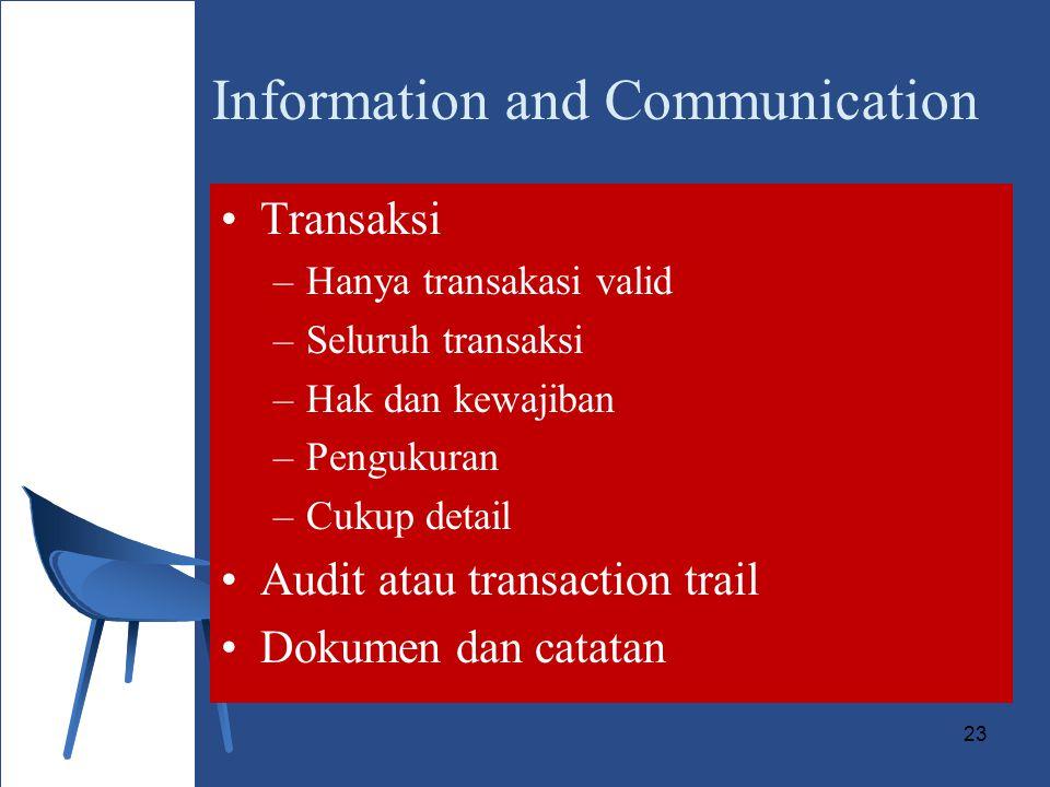 23 Information and Communication Transaksi –Hanya transakasi valid –Seluruh transaksi –Hak dan kewajiban –Pengukuran –Cukup detail Audit atau transaction trail Dokumen dan catatan
