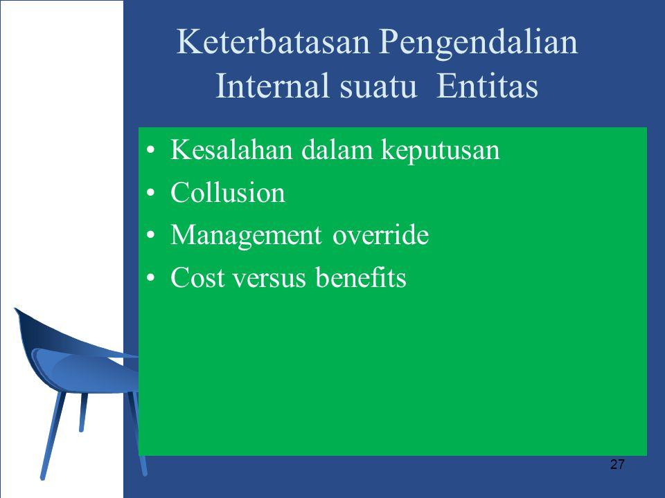 27 Keterbatasan Pengendalian Internal suatu Entitas Kesalahan dalam keputusan Collusion Management override Cost versus benefits