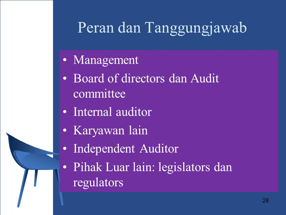 28 Peran dan Tanggungjawab Management Board of directors dan Audit committee Internal auditor Karyawan lain Independent Auditor Pihak Luar lain: legislators dan regulators
