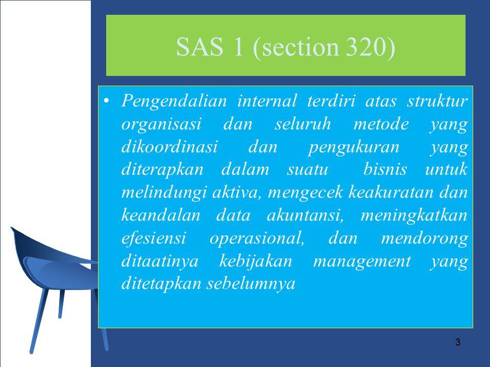 3 SAS 1 (section 320) Pengendalian internal terdiri atas struktur organisasi dan seluruh metode yang dikoordinasi dan pengukuran yang diterapkan dalam suatu bisnis untuk melindungi aktiva, mengecek keakuratan dan keandalan data akuntansi, meningkatkan efesiensi operasional, dan mendorong ditaatinya kebijakan management yang ditetapkan sebelumnya