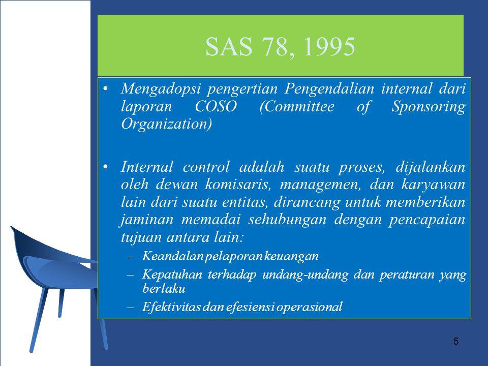 5 SAS 78, 1995 Mengadopsi pengertian Pengendalian internal dari laporan COSO (Committee of Sponsoring Organization) Internal control adalah suatu proses, dijalankan oleh dewan komisaris, managemen, dan karyawan lain dari suatu entitas, dirancang untuk memberikan jaminan memadai sehubungan dengan pencapaian tujuan antara lain: –Keandalan pelaporan keuangan –Kepatuhan terhadap undang-undang dan peraturan yang berlaku –Efektivitas dan efesiensi operasional
