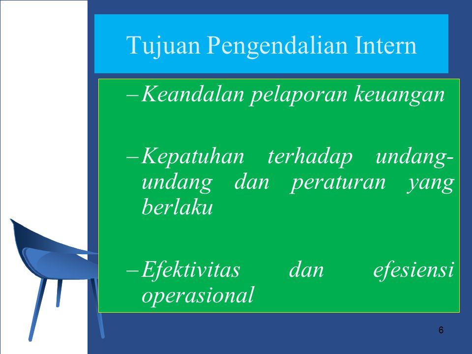 6 Tujuan Pengendalian Intern –Keandalan pelaporan keuangan –Kepatuhan terhadap undang- undang dan peraturan yang berlaku –Efektivitas dan efesiensi operasional