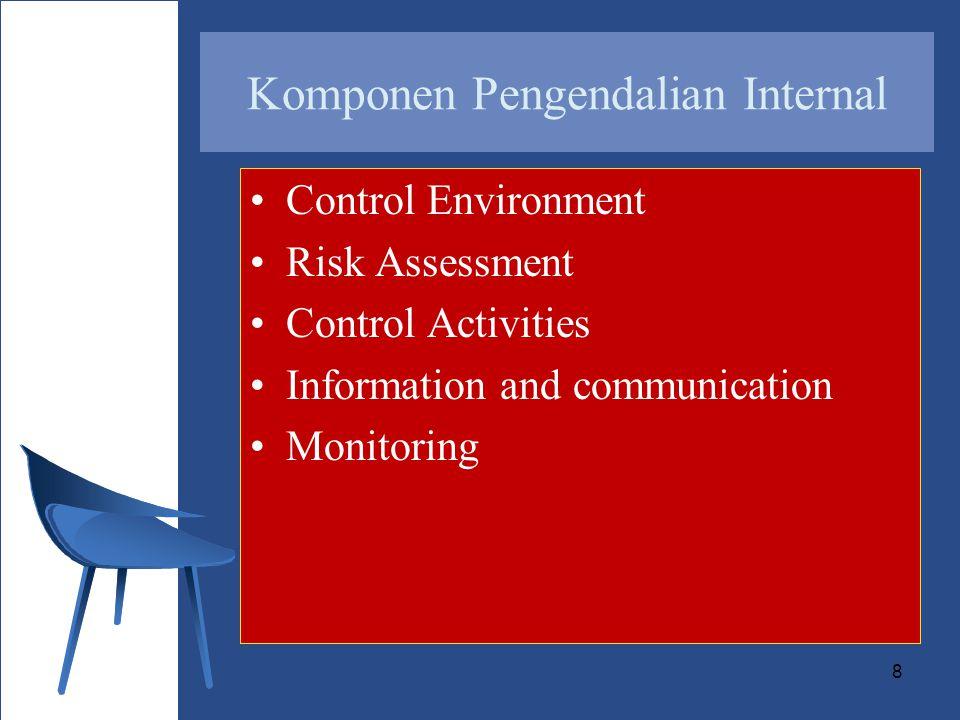 9 Control environment –merupakan dasar dari komponen yang lain –menentukan irama organisasi –mempengaruhi kesadaran pengendalian anggota organisasi