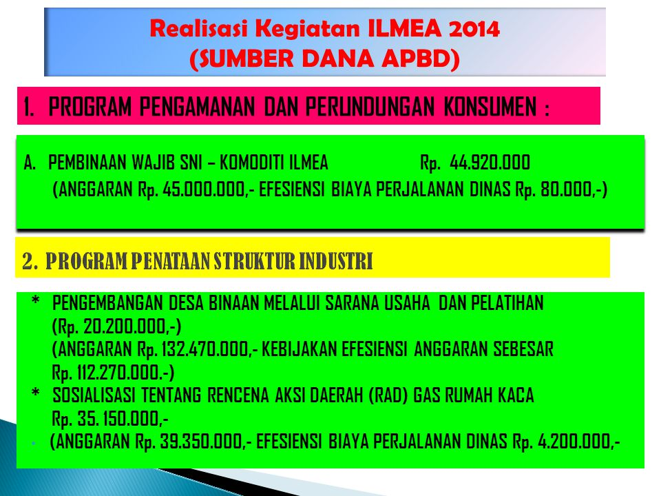 Realisasi Kegiatan ILMEA 2014 (SUMBER DANA APBD) A.PEMBINAAN WAJIB SNI – KOMODITI ILMEA Rp. 44.920.000 (ANGGARAN Rp. 45.000.000,- EFESIENSI BIAYA PERJ