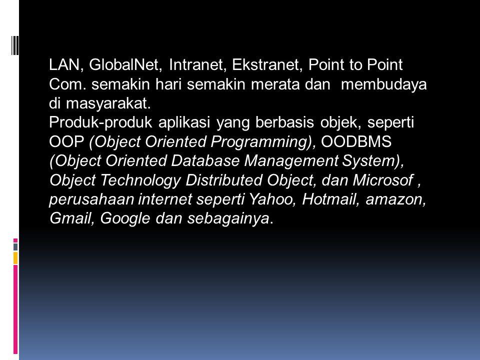 LAN, GlobalNet, Intranet, Ekstranet, Point to Point Com. semakin hari semakin merata dan membudaya di masyarakat. Produk-produk aplikasi yang berbasis
