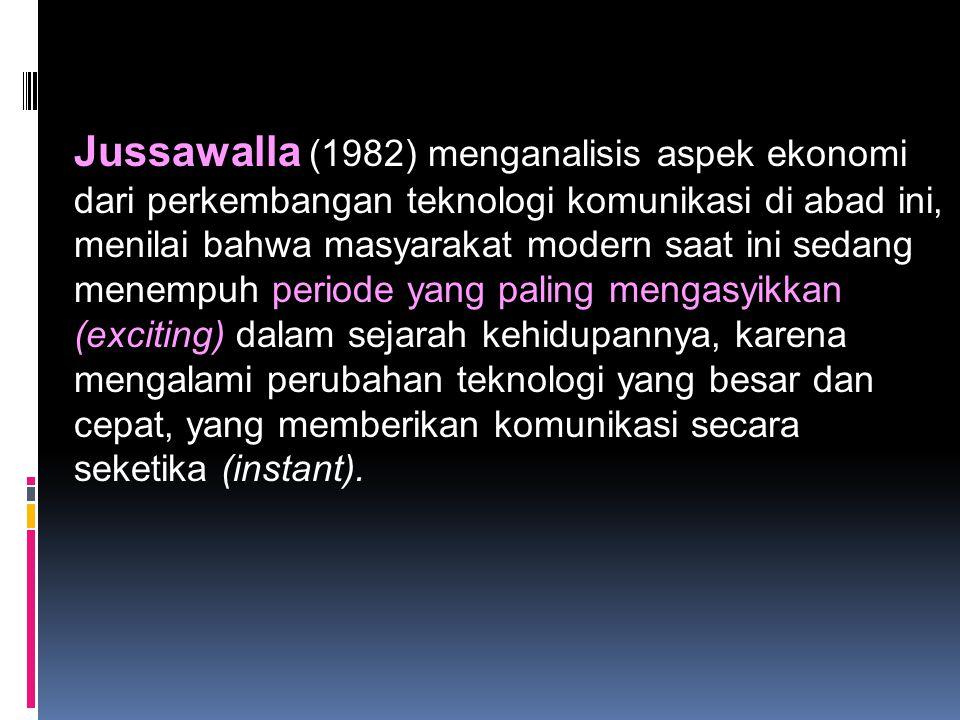 Jussawalla (1982) menganalisis aspek ekonomi dari perkembangan teknologi komunikasi di abad ini, menilai bahwa masyarakat modern saat ini sedang menem