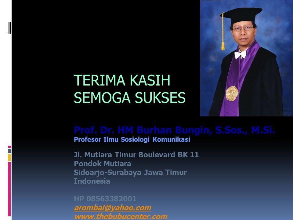 TERIMA KASIH SEMOGA SUKSES Prof. Dr. HM Burhan Bungin, S.Sos., M.Si. Profesor Ilmu Sosiologi Komunikasi Jl. Mutiara Timur Boulevard BK 11 Pondok Mutia