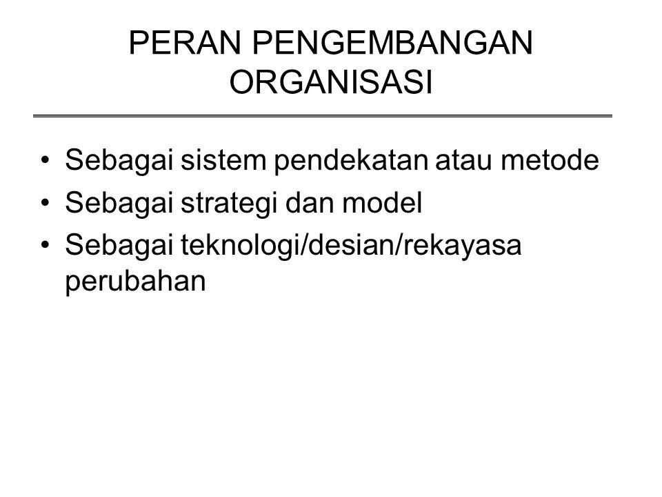 PERAN PENGEMBANGAN ORGANISASI Sebagai sistem pendekatan atau metode Sebagai strategi dan model Sebagai teknologi/desian/rekayasa perubahan