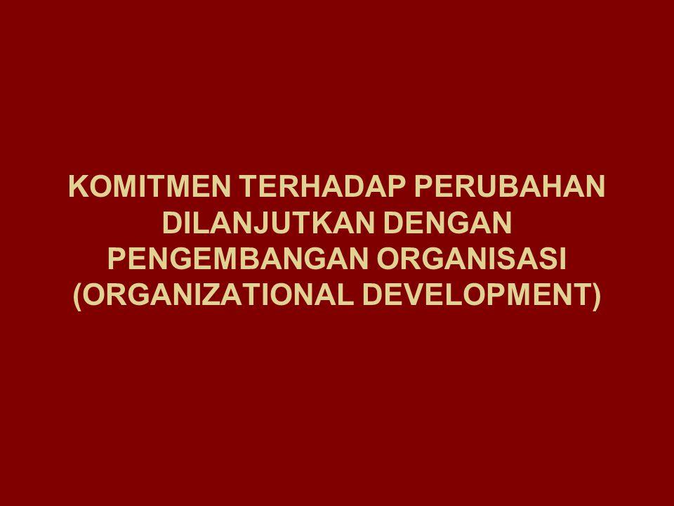 KERANGKA KETERGANTUNGAN (CONTINGENCY) DALAM PENGUKURAN EFEKTIVITAS ORGANISASI KRITERIA EFESIENSI: Ongkos untuk mencapai sasaran KRITERIA OUTPUT: Keberhasilan mencapai sasaran KRITERIA PROSES INTERNAL : Iklim Organisasi, Kepuasan Karyawan KRITERIA SOSIAL: Kepuasan Konstituensi Kejelasan Proses Transformasi Kejelasan Output LengkapTidak Lengkap Jelas Tidak Jelas