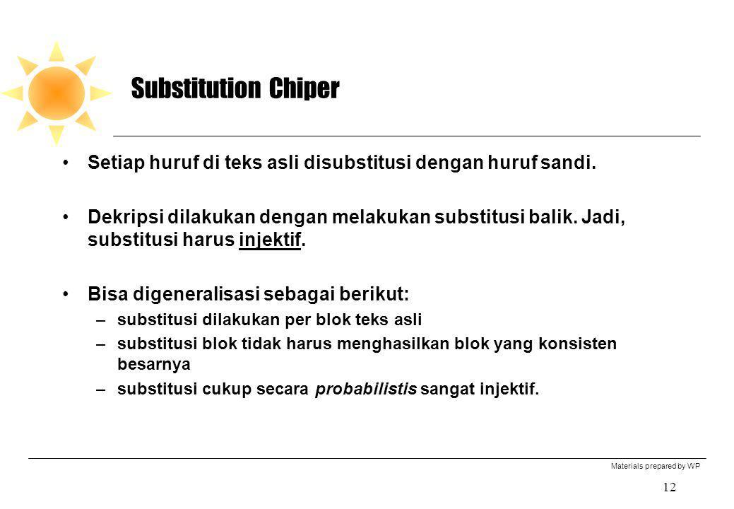 Materials prepared by WP 12 Substitution Chiper Setiap huruf di teks asli disubstitusi dengan huruf sandi. Dekripsi dilakukan dengan melakukan substit