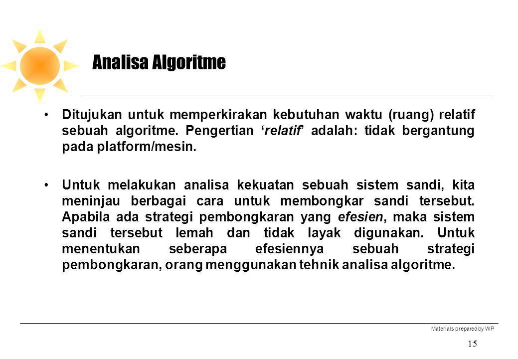 Materials prepared by WP 15 Analisa Algoritme Ditujukan untuk memperkirakan kebutuhan waktu (ruang) relatif sebuah algoritme. Pengertian 'relatif' ada